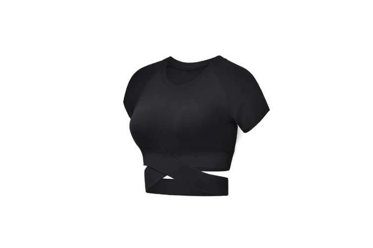 Short Sleeve Crop Tops For Women Workout Yoga Gym Top Lounge T Shirts Black S