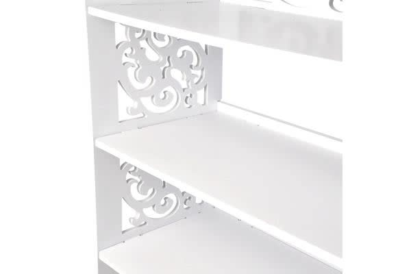 4 Tier White Chic Hollow Out Shoe Rack 60cm Width
