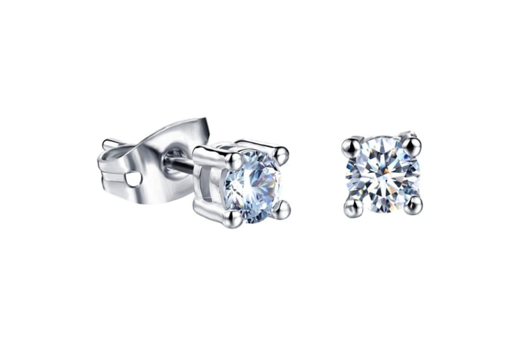 Classic 4 Prong Studs-White Gold/Clear