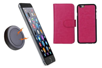 TODO Magnetic Quick Snap Car Mount Leather Credit Card Case Holder Iphone 6 - Pink