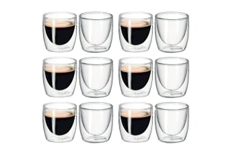 12Pc Avanti Caffe Twin Wall Glass 100ml Coffee Thermal Mug Glasses Expresso Cups