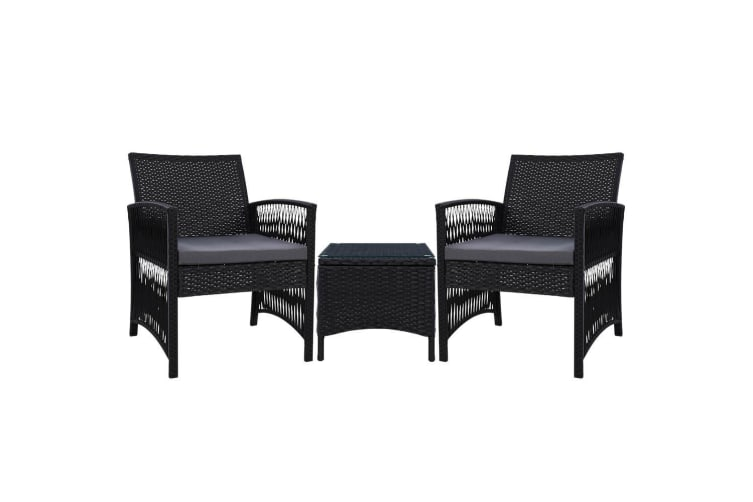 Patio Furniture Outdoor Bistro Set Dining Chairs Setting 3 Piece Wicker