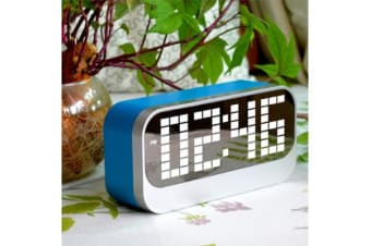 Led Digital Alarm Clock Large Display Portable Battery Powered Blue