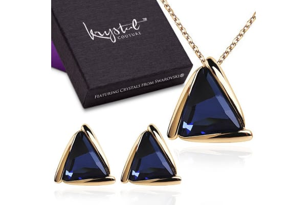 0c21dce5bc350 Bermuda Triangle Necklace And Earrings Set w/Swarovski Crystals-Rose  Gold/Blue