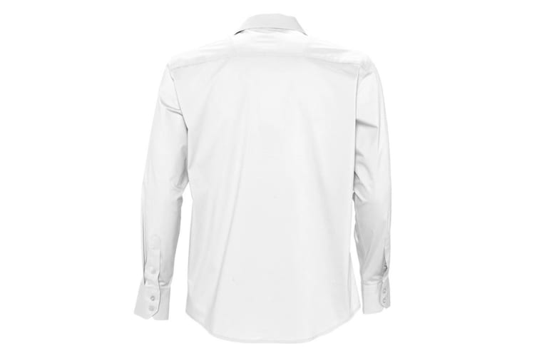 SOLS Mens Brighton Long Sleeve Fitted Work Shirt (White) (XXL)