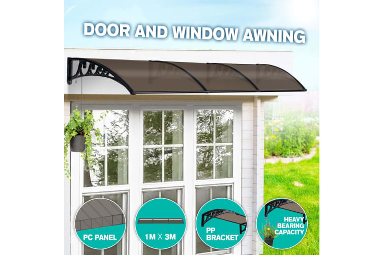 Brown Rain Proof Shade Rain Cover Canopy Awning- 3M