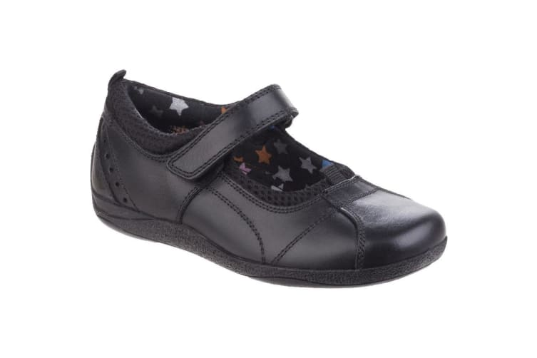 Hush Puppies Childrens Girls Cindy Senior Back To School Leather Shoes (Black Leather) (4.5 UK)