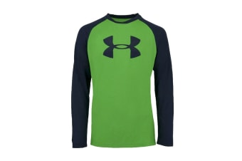 Under Armour Boys' UA Tech Two-Tone Big Logo L/S Shirt (Green/Navy, Size S)