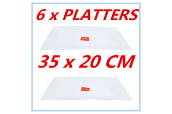 6 PK GLOSSY WHITE MELAMINE SERVING TRAY RECTANGLE PLATTER PARTY EVENT 35x20cm