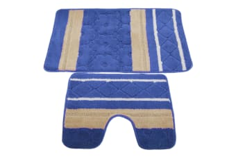 2 Piece Striped Bath Mat/Rug & Pedestal Mat Set (Blue/Beige) (One Size)