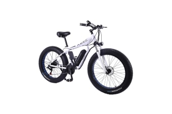 "AKEZ HT 350W 36V Electric Bike Beach eBike Snow Motorized Bicycle Battery 26"" White"