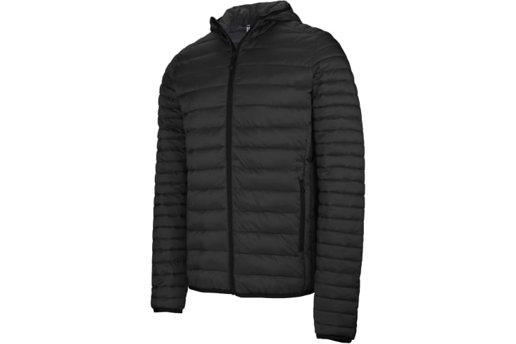 Kariban Mens Lightweight Hooded Down Jacket (Black) (XL)