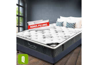 QUEEN Mattress Size Bed Euro Top 9 Zone Pocket Spring 34cm Foam Latex NEW