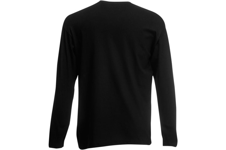 Fruit Of The Loom Mens Valueweight Crew Neck Long Sleeve T-Shirt (Black) (XL)