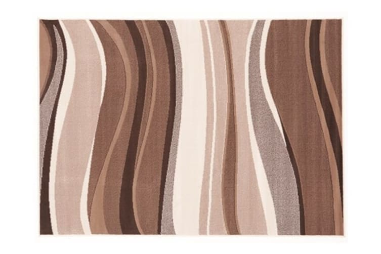 Modern Beige Brown Rug Wave Pattern 330x240cm