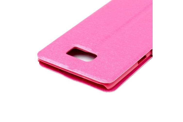 For Samsung Galaxy S7 EDGE Case Leather Silk Texture ID Display Cover Magenta