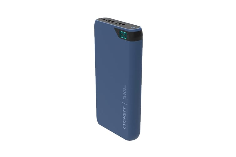 Cygnett ChargeUp Boost 15,000 mAh Dual USB 2.4A Power Bank - Navy (CY2509PBCHE)