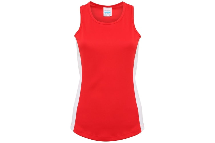 AWDis Just Cool Womens/Ladies Girlie Contrast Panel Sports Vest Top (Fire Red/Arctic White) (XL)