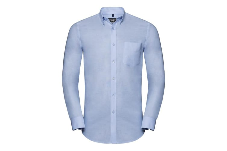Russell Collection Mens Tailored Long Sleeve Oxford Shirt (Oxford Blue) (14.5in)