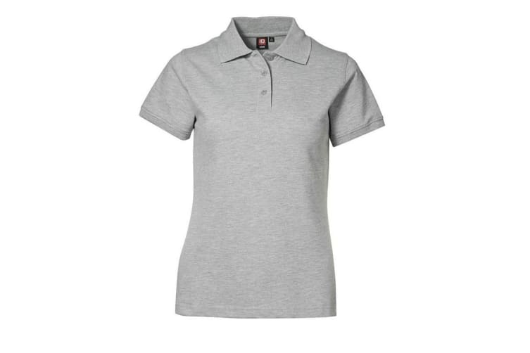 ID Womens/Ladies Stretch Pique Fitted Short Sleeve Polo Shirt (Grey melange) (2XL)