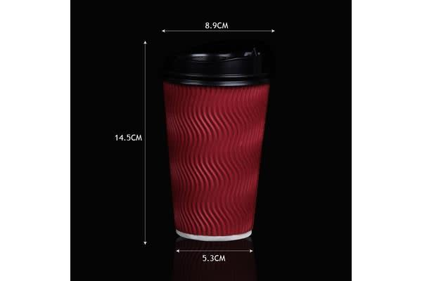 100x Red Disposable Coffee Cups 16oz Multi Sets