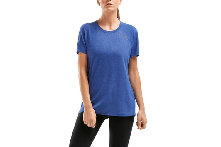 2XU Women's HEAT Short Sleeve Run Tee (Blue, Size XS)