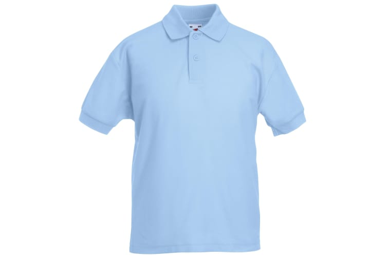 Fruit Of The Loom Childrens/Kids Unisex 65/35 Pique Polo Shirt (Pack of 2) (Sky Blue) (9-11)