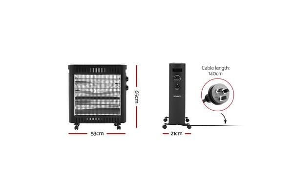Devanti 2200W Infrared Radiant Heater Portable Electric Convection Panel Heating (65cm)