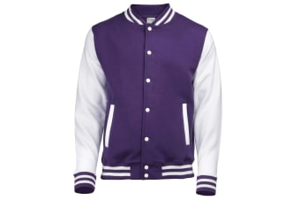 Awdis Unisex Varsity Jacket (Purple / White) (XS)