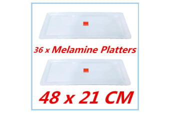 BULK BUY - 36 PK WHITE MELAMINE SERVING TRAY RECTANGLE PLATTER 48cm x 21cm Fd