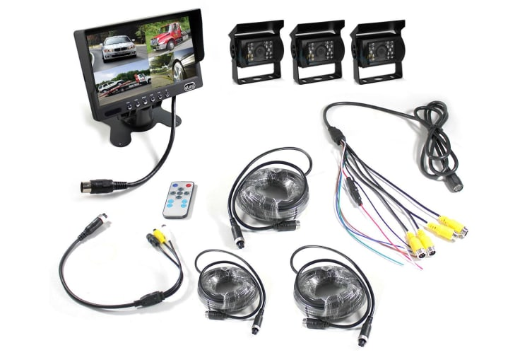 "Elinz 7"" Quad Monitor Splitscreen Colour CCD Reversing 3x Camera 4PIN Kit Truck Caravan"