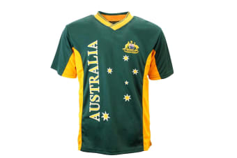 Adult Mens Sports Soccer Football Rugby Jersey Top T Shirt Australia Souvenir A -Green