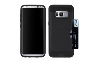 For Samsung Galaxy S8 Case Strong Durable Protective Cover with Card Slot Black