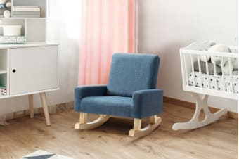 Ovela Kids Linen Rocking Chair - Blue