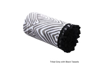 Tribal Summer Towel Grey with Black Tassels by Home Innovations