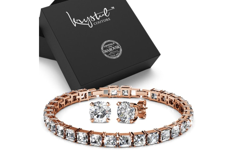 Boxed Bracelet and Earrings Set Embellished with Swarovski crystals