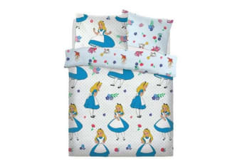 Alice In Wonderland Girls Reversible Duvet Set (Multicoloured)