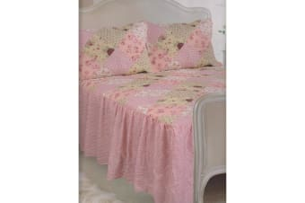 E Of W Oregon Diamond Quilted Gingham/Floral Bedspread With Pillowshams Bedding Set (Oregon)