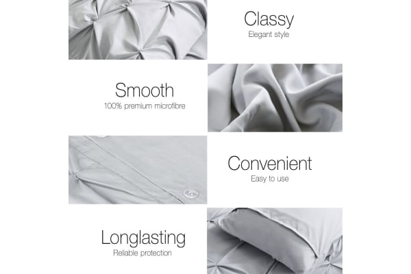 Giselle Bedding Diamond Stitch Quilt Cover Set (King/Grey)