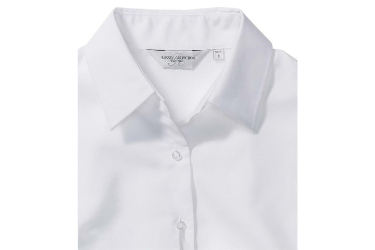 Russell Collection Ladies/Womens Long Sleeve Easy Care Oxford Shirt (White) (XS)