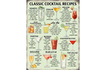Classic Cocktails Recipe Metal Wall Sign (Multicoloured)