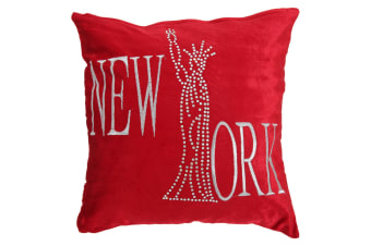 Panache New York Sparkle Design Cushion Cover (Cushion Pad Not Included) (Red)