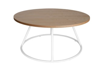 Soho Round Wood Coffee Table | White & Natural