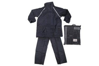 ProClimate Childrens Waterproof Rain Suit (Trousers And Jacket Set) (Navy)