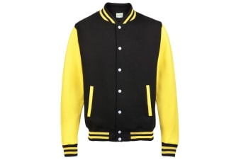 Awdis Unisex Varsity Jacket (Jet Black/ Sun Yellow)
