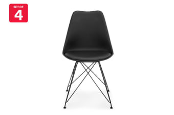 Shangri-La Set of 4 DSR Dining Chairs - Eames Replica (Black/Black)