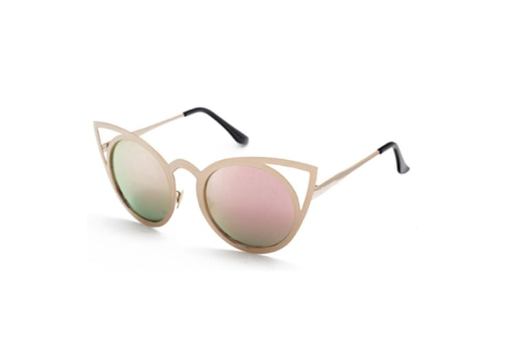 Cat Eye Sunglasses Round Metal Cut-Out Flash Mirror Lens Sun glasses C6