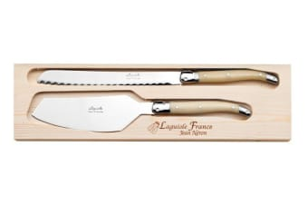Laguiole Jean Neron Horn Cake Server and Bread Knife