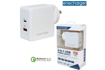 100-240VAC Input 48W Dual USB Fast Charger with USB-C Power Delivery