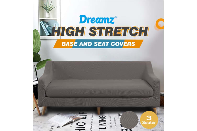 Dreamz Couch Sofa Base & Seat Cover Stretch Protector 3 Seater Chocolate New